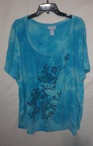 Liz & Me Turquoise Tie Dye T-shirt Sz 2X